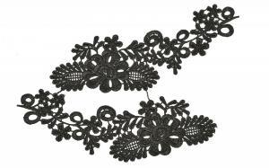 Лейсы пришивные,цв.чёрный,22х6 см,компл.2шт