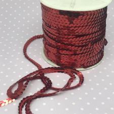 Пайетки на нитях,6 мм,цв.тёмно-красный (№5)