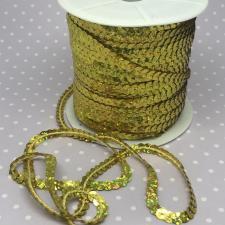 Пайетки на нитях,6 мм,цв.золото голографик (№7)