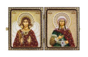 """Складень """"Святая Преподобная Светлана (Фотина) и Ангел Хранитель"""""""