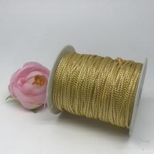 Шнур декоративный плетёный с люрексом,круглый,2мм,жёлтый/серебро(золото №3),100 ярдов (91,44 м)