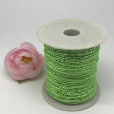 Шнур декоративный плетёный с люрексом,круглый,2мм,светло-зелёный/серебро (№4),100 ярдов (91,44 м)
