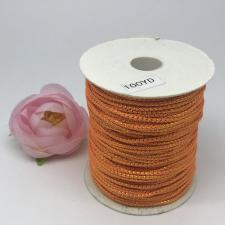 Шнур декоративный плетёный с люрексом,круглый,2мм,оранжевый/золото (№6),100 ярдов (91,44 м)