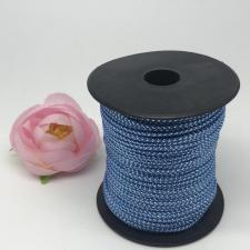 Шнур декоративный плетёный с люрексом,круглый,2мм,синий/серебро (№7),100 ярдов (91,44 м)