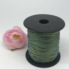 Шнур декоративный плетёный с люрексом,круглый,2мм,бирюзовый/золото (№8),100 ярдов (91,44 м)