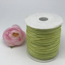 Шнур декоративный плетёный с люрексом,круглый,2мм,салатовый/серебро (№9),100 ярдов (91,44 м)