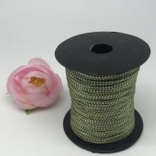 Шнур декоративный плетёный с люрексом,круглый,2мм,оливковый/серебро (№17),100 ярдов (91,44 м)