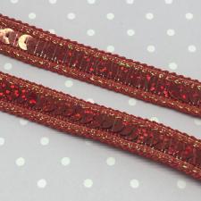 Декоративная тесьма с пайетками,12мм,цв.красный