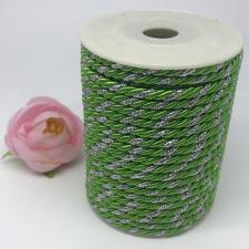 Шнур витой декоративный двухцветный,5 мм,цвет зелёный/серебро (№17)