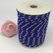 Шнур витой декоративный двухцветный,5 мм,цвет василёк/серебро (№19)