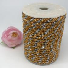 Шнур витой декоративный двухцветный,5 мм,цвет жёлтый/серебро (№20)
