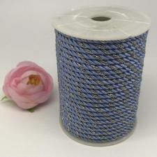 Шнур витой декоративный двухцветный,5 мм,цвет светло-голубой/серебро (№22)
