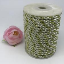 Шнур витой декоративный двухцветный,5 мм,цвет молочный/золото (№28)