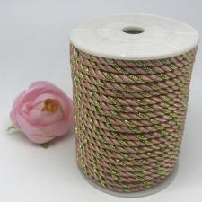 Шнур витой декоративный двухцветный,5 мм,цвет светло-персиковый/золото (№34)