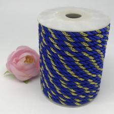 Шнур витой декоративный двухцветный,5 мм,цвет синий/золото (№36)