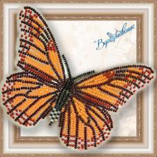 """Набор для вышивки бисером на прозрачной основе """"Бабочка """"Данаида Монарх"""""""""""
