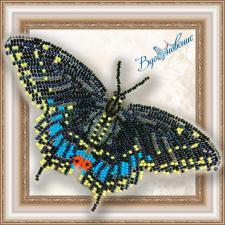"""Набор для вышивки бисером на прозрачной основе """"Бабочка """"Чёрный Махаон"""""""""""