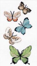 """Набор для вышивания на водорастворимой канве """"Бабочки"""". Размер - 8 х 17 см."""
