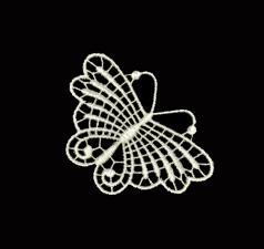 """TR.B1 Кружевная аппликация """"Бабочка"""",цв. кремовый,размер 7,5 х 6 см"""