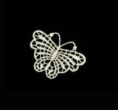 """TR.B2 Кружевная аппликация """"Бабочка"""",цв. кремовый,размер 5 х 4 см"""