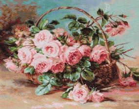 """Набор для вышивания Luca-S """"Корзина с розами"""". Размер - 30 х 24 см."""