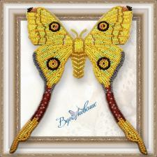 """Набор для вышивки бисером на прозрачной основе """"Бабочка """"Мадагаскарская комета"""""""""""