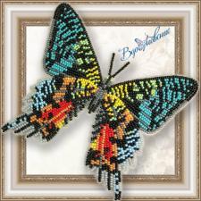 """Набор для вышивки бисером на прозрачной основе """"Бабочка """"Урания Мадагаскарская"""""""""""