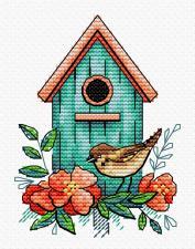 """Набор для вышивания крестиком ТМ """"Жар-Птица"""" """"Воробьиный дом"""". Размер - 8 х 11 см."""