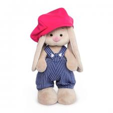 Зайка Ми в синем комбинезоне в полоску с малиновой кепкой, мягкая игрушка BudiBasa
