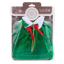 """Одежда для Зайки Ми """"Зелёное рождественское платье и листочек на ухо"""""""
