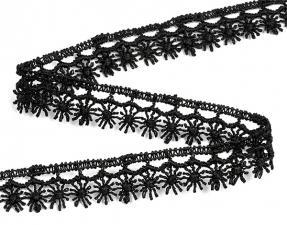 Кружево гипюр,13 мм.цв.чёрный