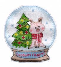 """Набор-магнит для вышивания на пластиковой канве """"Снежный шар"""". Размер - 9,1 х 9,8 см."""
