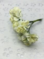 Букетик роз бумажный,цв.айвори,12 шт