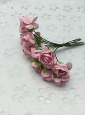 Букетик роз бумажный,цв.розовый,12 шт