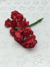 Букетик роз бумажный,цв.красный,12 шт