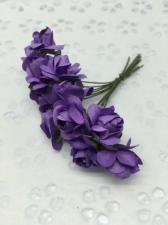 Букетик роз бумажный,цв.фиолетовый,12 шт