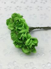 Букетик роз бумажный,цв.зелёный,12 шт