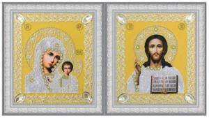 Картины бисером | Набор венчальных икон (золото). Размер - 19 х 21,5 см.