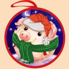 Маричка | Ёлочная игрушка.Снежная свинка. Размер - 14 х 14 см.