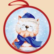 Маричка | Ёлочная игрушка.Новогодний кот. Размер - 14 х 14 см.