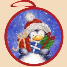 Маричка | Ёлочная игрушка.Пингвин с подарками. Размер - 14 х 14 см.