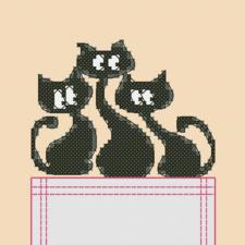 "Вышивка на одежде ""Трио котов"". Размер - 6,5 х 9 см."