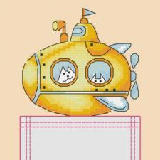 """Вышивка на одежде """"Yellow submarine"""" Размер - 8 х 8,5 см."""
