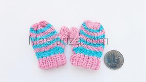 Варежки для игрушек, вязаные,5-6 см,цвет розовый/голубой