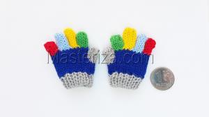 Перчатки для игрушек, вязаные,5-6 см,цвет синий/серый