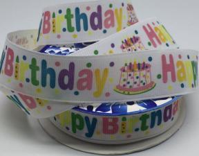 """Лента репсовая с рисунком """"Happy Birthday"""",25 мм"""