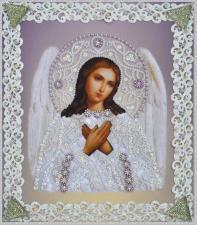 Картины бисером | Икона Ангела Хранителя (серебро,ажур). Размер - 19 х 21,5 см.