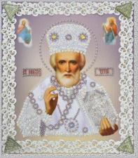Картины бисером | Икона Святителя Николая Чудотворца (серебро,ажур). Размер - 19 х 21,5 см.