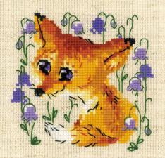 """Набор для вышивания крестом """"Маленький лисёнок"""". Размер - 13 х 13 см."""