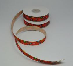 """Лента репсовая с рисунком """"Конфетти"""" (на оранжевом фоне),12 мм"""
